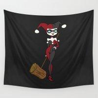 harley quinn Wall Tapestries featuring Harley Quinn by The Batty Bird