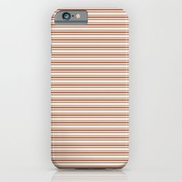 Warm Terracotta Brown Horizontal Stripe Patterns 2 on Creamy Off White Sherwin Williams Cavern Clay  iPhone Case