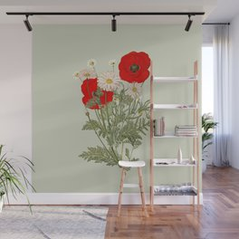 A country garden flower bouquet -poppies and daisies Wall Mural