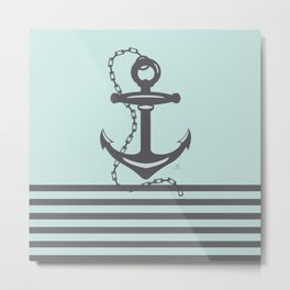 AFE Pale Turquoise and Brown Anchor Metal Print