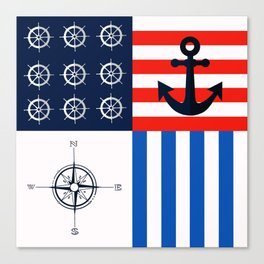 Nautical squares Canvas Print