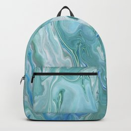North Shore Swirls - Marble Fluid Abstract Blue Turquoise Art Backpack