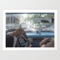 Taxi Ride, Havana Art Print