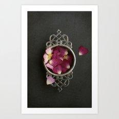 Vintage Tea Strainer and Rose Petals Art Print