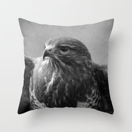 Common Buzzard II BW Throw Pillow