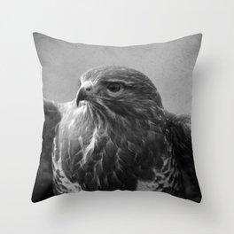 Common Buzzard II BW Throw Pillow