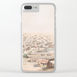 Vintage Pictorial Map of Galveston TX (1855) Clear iPhone Case
