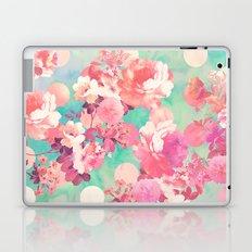 Romantic Pink Retro Floral Pattern Teal Polka Dots  Laptop & iPad Skin