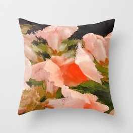 Flower Abstract Pink and Peach Snapdragons  Throw Pillow