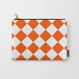 Large Diamonds - White and Dark Orange Carry-All Pouch
