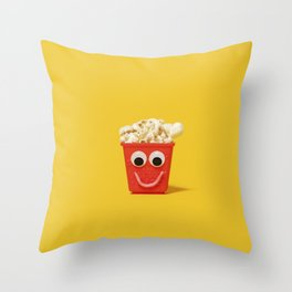 Happy smiling popcorn box with googly eyes and mouth Throw Pillow