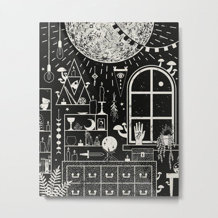 Moon Altar Metal Print - black white square metal wall art