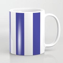 Cosmic cobalt blue - solid color - white vertical lines pattern Coffee Mug