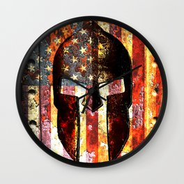 American Flag And Spartan Helmet On Rusted Metal Door Wall Clock