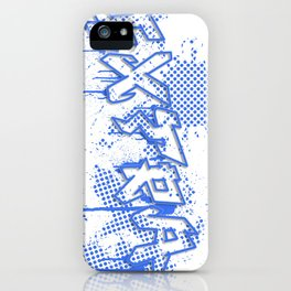 extra splash blue grafitti design iPhone Case