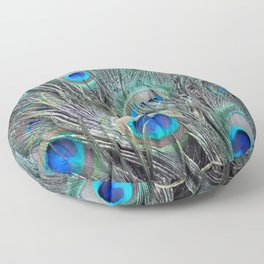 Blue Peacock Feathers Texture Floor Pillow