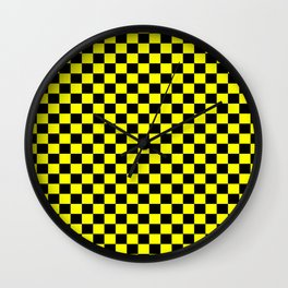 Yellow Black Checker Boxes Design Wall Clock