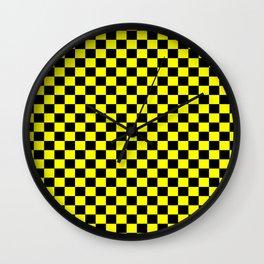 Yellow Black Checker Boxes Design Wall Clock