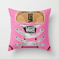 vans Throw Pillows featuring Cute pink Vans all star baby shoes apple iPhone 4 4s 5 5s 5c, ipod, ipad, pillow case and tshirt by Three Second