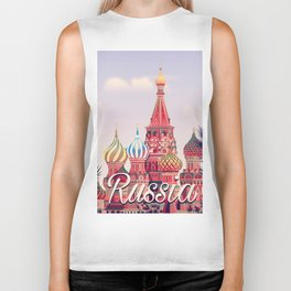 Russia st basil's cathedral Moscow travel poster Biker Tank
