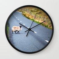 irish Wall Clocks featuring Irish Sheep  by GF Fine Art Photography