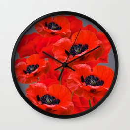 MONTAGE OF RED ORIENTAL POPPIES GREY COLOR ART Wall Clock