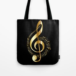 Treble clef surrounded by melody Tote Bag