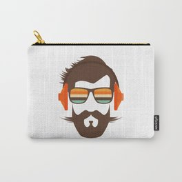 Hipster Face with Headphone Carry-All Pouch
