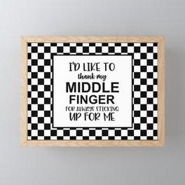 Middle Finger Quote Framed Mini Art Print