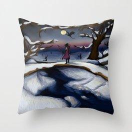 Dragon's Last Snowfall Throw Pillow
