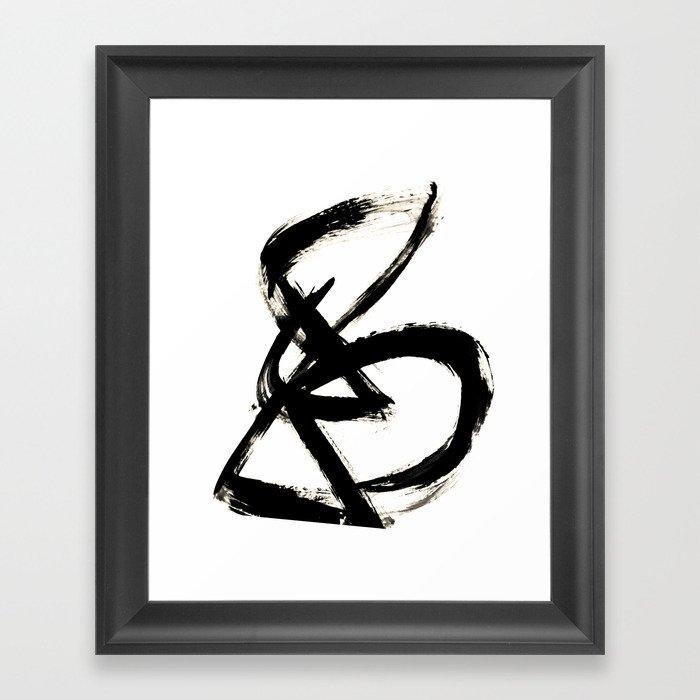Brushstroke 3 - a simple black and white ink design Gerahmter Kunstdruck
