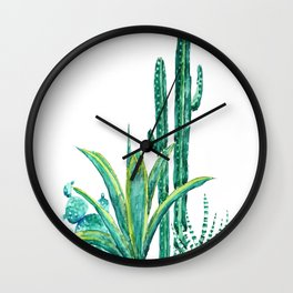 cactus jungle watercolor painting 2 Wall Clock