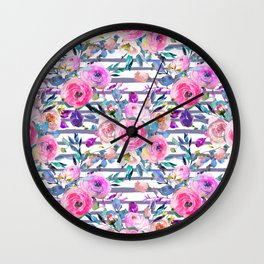 Pink mauve lilac hand painted watercolor roses floral stripes Wall Clock