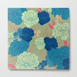 Green Blue Anemone Metal Print