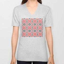 Romanian Traditional Embroidery Unisex V-Neck