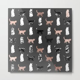 Kitty Cats in Rose Gold and Black and White Marble Metal Print