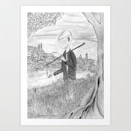 Tramp in search of identity Art Print