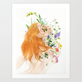 Overgrow watercolor painting Art Print