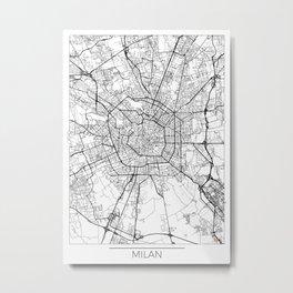 Milan Map White Metal Print