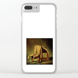 Tied on the whipping bench - Nude woman in bondage Clear iPhone Case