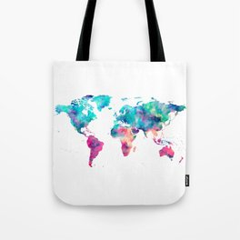 World Map Turquoise Pink Blue Green Tote Bag