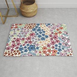 479-Watercolor pastel cute ditsy floral pattern Rug
