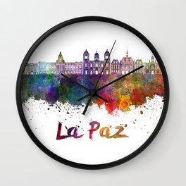 La Paz skyline in watercolor Wall Clock
