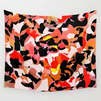 camouflage Wall Tapestries featuring red camouflage by Matthias Hennig