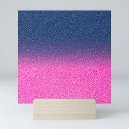 Trendy Metallic Royal Blue Hot Pink Glitter Gradient Mini Art Print