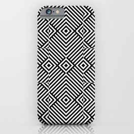 Op art pattern with black white rhombuses iPhone Case