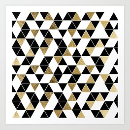Modern Black, White, and Faux Gold Triangles Art Print