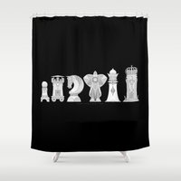 chess Shower Curtains featuring Modernist Chess by tuditees
