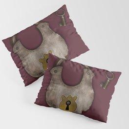 Vintage Padlock & Key on Raspberry Pillow Sham