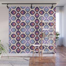 Retroflower -purple and azure petals Wall Mural